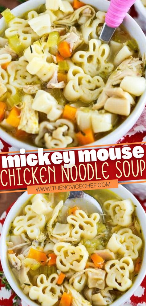 Kids will enjoy this comfort in a bowl every time! The classic chicken noodle soup is given a fun spin by using Mickey Mouse noodles. Plus, you are going to love that this dinner only takes 30 minutes or less to make! A perfect family meal for the winter! Save this pin!