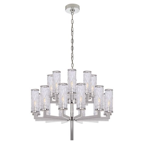 Liaison Double Tier Chandelier In Polished Nickel With Crackle Glass Visual Comfort Lighting Crackle Glass Chandelier Ceiling Lights