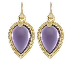 18K Chinese Bead Earring with Amethyst