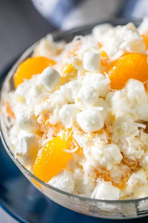 Close Up Of Ambrosia Salad Marshmallows Cool Whip Sour Cream Mandarin Oranges Ambrosia Recipe Fruit Salad Recipes Summer Salads With Fruit