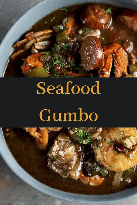 This New Orleans Gumbo recipe is made with spicy smoked andouille sausage, crab, shrimp, oysters, ok