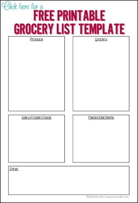 Organized Grocery List - 3 FREE printable templates organizing