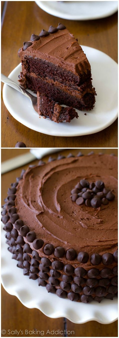 A chocolate lover's DREAM! My favorite homemade chocolate cake recipe. And it's the fudgiest! chocolate chips, chocolate desserts