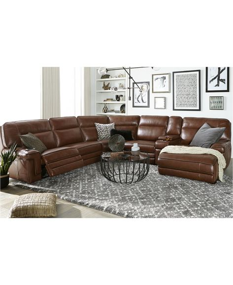 Leather Living Room Set with Chaise Luxury Myars Leather Power Reclining Sectional Collection Created for Macy S Sectional Sofa With Recliner, Leather Sectional Sofas, Living Room Sectional, Sleeper Sofas, Leather Recliner, Recliner Chairs, Sectional Furniture, Furniture Upholstery, Furniture Design