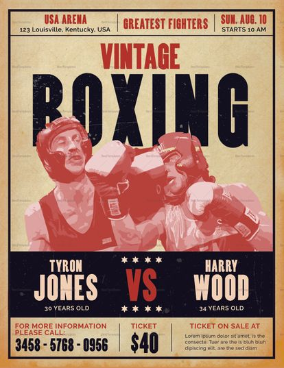 Vintage Boxing Flyer Template Boxing Posters Flyer Vintage Box