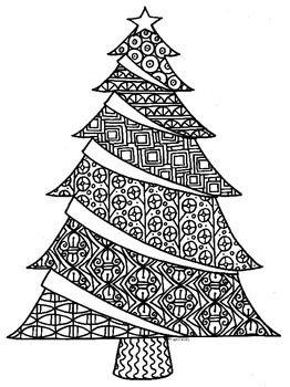 Christmas Tree Zentangle Coloring Page Christmas Tree Zentangle Christmas Tree Coloring Page Christmas Tree Art
