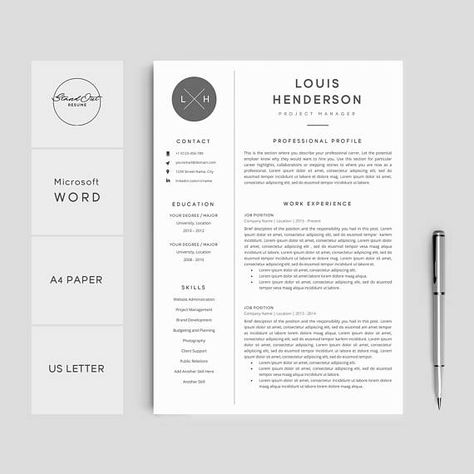 Professional Resume Template Creative Resume Cover Letter 5 Page Pack Resume Template For Word Instant Download Resume Louis Med Billeder