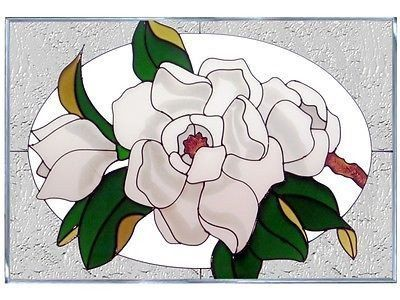 20x14 MAGNOLIA Floral Stained Art Glass Window Suncatcher