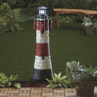 Solar Lighthouse Lawn And Garden Decor 43in H Solar Lights