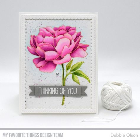 Stamps: Peony Perfection, BB Greetings GaloreDie-namics: Stitched Rectangle SCallop Frames, Fishtial Flag TrioDebbie Olson#mftstamps