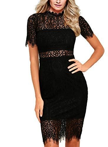 8964ae132 Zalalus Women's Lace Dresses for Cocktail Wedding Party Elegant High Neck  Short Sleeves Above Knee Length Summer Bodycon Casual Midi Dress Black US8