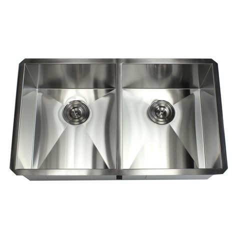 32 Inch Stainless Steel 16 Gauge Double 50 50 Bowl Undermount Zero Radius Kitchen Island Bar Sink Sink Solid Surface Countertops Kitchen Upgrades