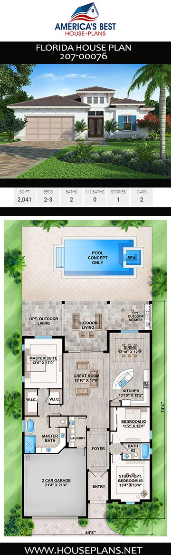 House Plan 207 00076 Florida Plan 2 041 Square Feet 2 3 Bedrooms 2 Bathrooms Florida House Plans Florida Home House Plans