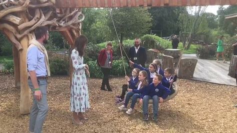 Kate Middleton hitches tractor ride with Mary Berry at opening of her Back to Nature play garden