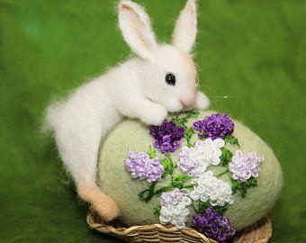 OOAK/ Needle Felted/ Miniature/ rabbit / hare/ bunny/ handmade | Etsy
