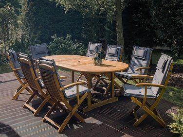 Lot de 2 chaises en bois avec coussin gris foncé MAUI ...