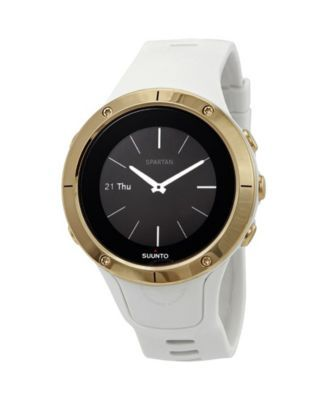 Suunto Spartan Trainer Wrist Hr Gold White Silicone Band A Goldtone Bezel With A Digital Dial Mens Gift Sets Trainers