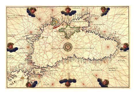 Portolan Or Navigational Map Of The Black Sea Showing Anthropomorphic Winds Art Print Battista Agnese Art Com In 2021 Art Prints Wind Art Antique Maps