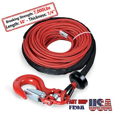 Details About Red 7000 Lb Synthetic Winch Rope Cable 50 X 1 4 Half Linked Hook Stopper Winch Rope Synthetic Winch Rope Winch