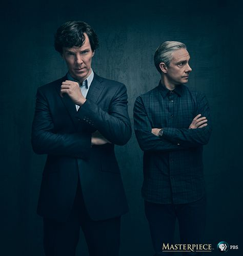 Benedict Cumberbatch and Martin Freeman are on FIRE in the new #Sherlock season 4 photo!!!