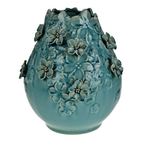 Vintage Floral Applique Glazed Ceramic Pottery Vase Condition consistent with age and history. Some crazing; slight loss to 1 flower petal; Ceramic Pinch Pots, Glazed Ceramic, Ceramic Vase, Pottery Sculpture, Pottery Vase, Ceramic Pottery, Ceramics Projects, Ceramics Ideas, Hand Thrown Pottery