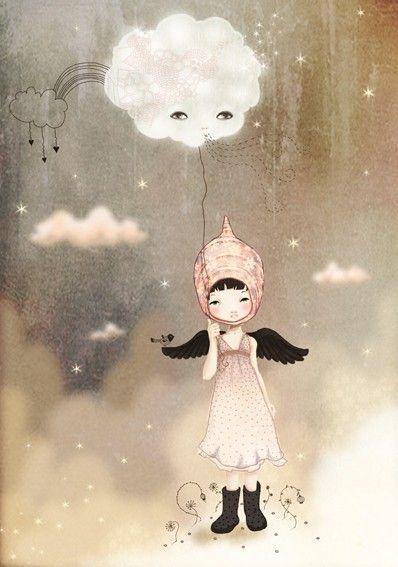 'The Cloud keeps following me'  Anne Cresci illustration.(Let it go let it go) !!