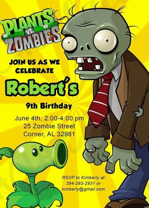 Plants Vs Zombies Invitation Template Plants Vs Zombies Customizable Invitation Simp Zombie Birthday Plants Vs Zombies Birthday Party Zombie Birthday Parties