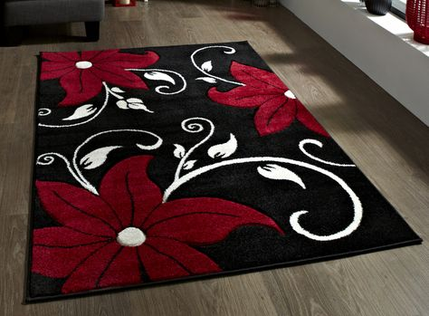 Online Rugs Black Red White
