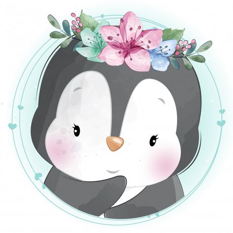 Cute Little Penguin With Floral Portrait