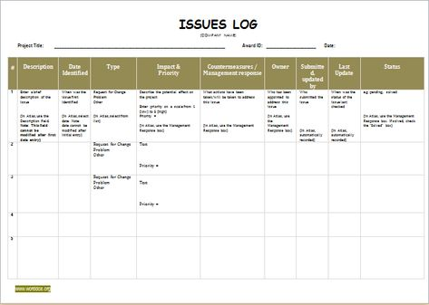 Issue Log Template DOWNLOAD at http\/\/worddoxorg\/issue-log - office sign in sheet template