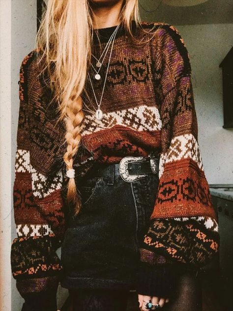 hippie outfits 801992646128881387 - Casual Loose Knit Puff sleeve Sweaters – Cicicloth Source by cicicloth Fashion 90s, Tokyo Street Fashion, Look Fashion, Autumn Fashion, Fashion Outfits, Fall Hippie Fashion, Autumn Aesthetic Fashion, Boho Aesthetic, Fashion Stores