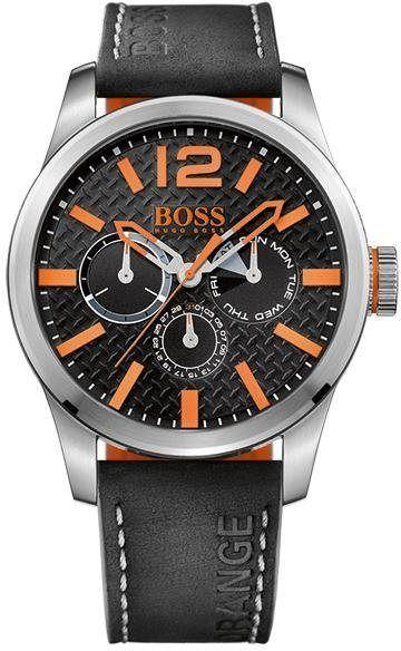 Multifunktionsuhr Paris 1513228 Hugo Boss Orange Armbanduhr Leder Armbanduhr