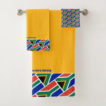 South Africa Flag Personalized Scripture Yellow Bath Towel Set