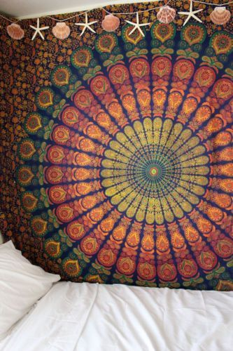 Sanganer Mandala Peacock Cotton Floral Tapestry Wall Hanging Tablecloth Bedspread Bedsheet Beach Sheet Dorm Decor Twin 68 x 102 inches