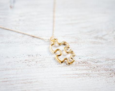 Kurze vergoldete Kette mit Puzzle Anhänger / short golden necklace with puzzle piece pendant by TanteRina via DaWanda.com