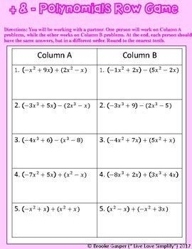 Adding And Subtracting Polynomials Worksheet With Answer ...