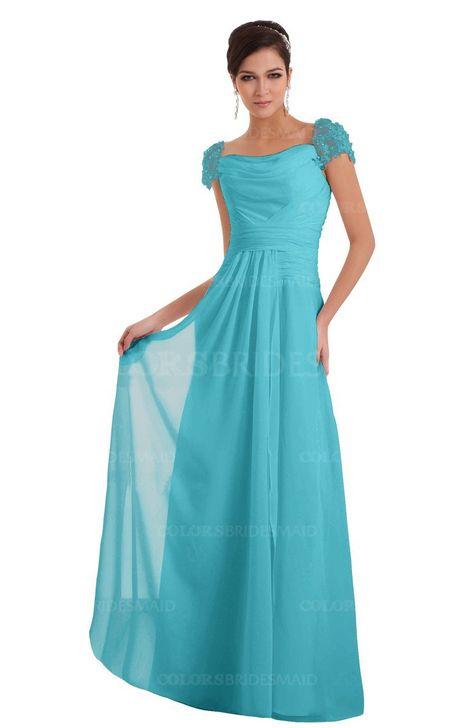 945d4ee04fbd5 Turquoise Elegant A-line Wide Square Short Sleeve Appliques Bridesmaid  Dresses at colorsbridesmaid.com is on discount. It's A-line, Chiffon, Floor  Length, ...