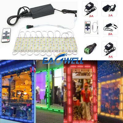 US 80ft 5050SMD 3 LED Module Lights STORE FRONT Window Sign Lamp+Remote+Power