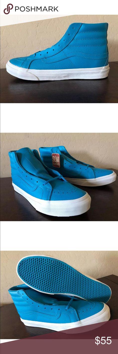 c3661c5a92455f Vans Men s SK8-Hi Slim Leather Neon Pink Shoes NEW AUTHENTIC Vans Sk8-Hi  Slim Neon Leather Skate Shoes SIZE MEN S 8.5