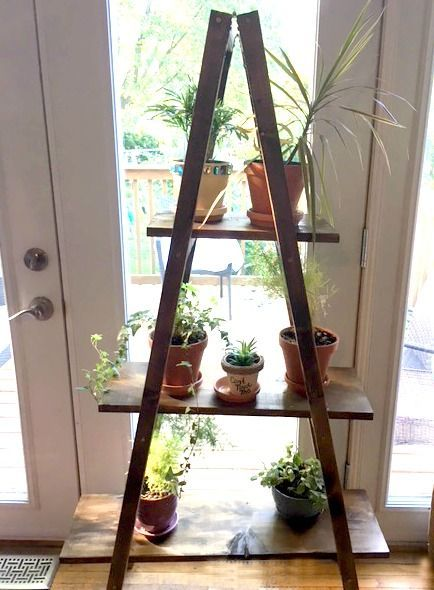 Make A Ladder Plant Stand Easy Diy Only 20 For Lumber My Bright Ideas Diy Plant Stand Plant Stand Indoor Wood Plant Stand