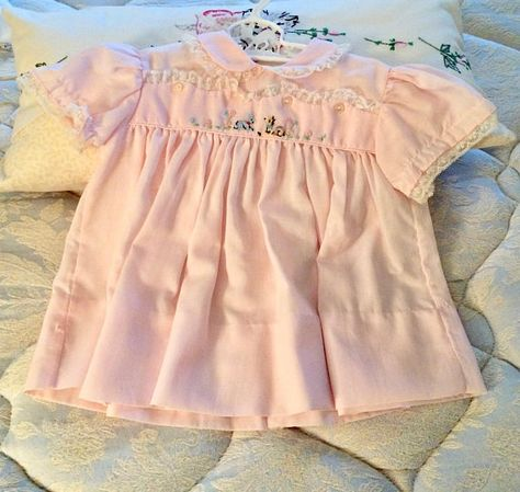 Vintage Cherubs baby dress pink peter Pan collar   Vintage