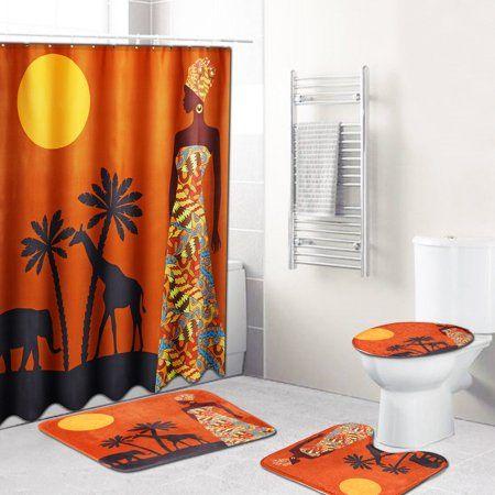 Bathroom Shower Curtain+Non-slip Bath Mat Pedestal Toilet Seat Cover Lid Rug Set