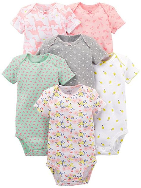 Simple Joys by Carter/'s Baby Girls 5-Pack Long-Sleeve Bodysuit Size 6-9 Months