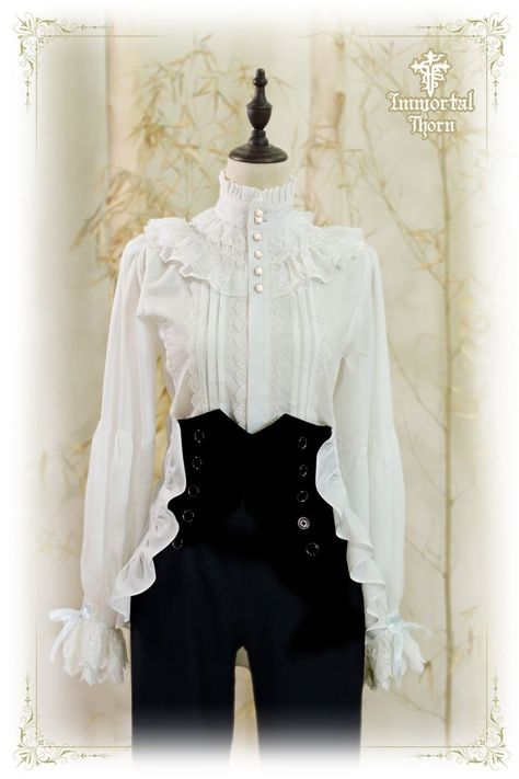 Immortal Thorn -The Forever Prince- Ouji Lolita Blouse Cosplay, or cosplaying is, by definition, a form of dress up or costume play. Cosplayers dress up in costumes that usually are based around An… Mode Lolita, Lolita Style, Gothic Lolita Fashion, Goth Style, Gothic Fashion, Vintage Outfits, Vintage Fashion, Modern Victorian Fashion, Victorian Outfits