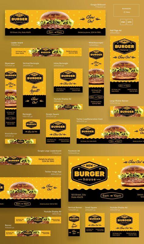 Desain Spanduk Makanan : desain, spanduk, makanan, Banners, Burger, House, Desain, Banner,, Poster, Makanan,, Spanduk