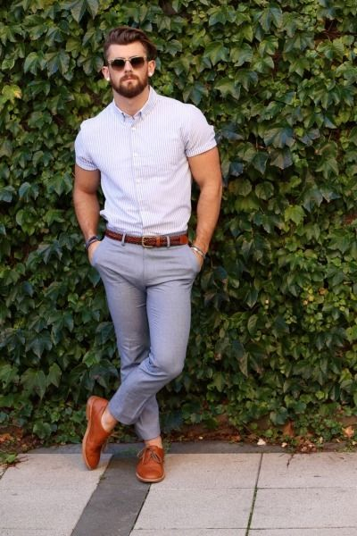 Stylish Men With Short Sleeved Shirts