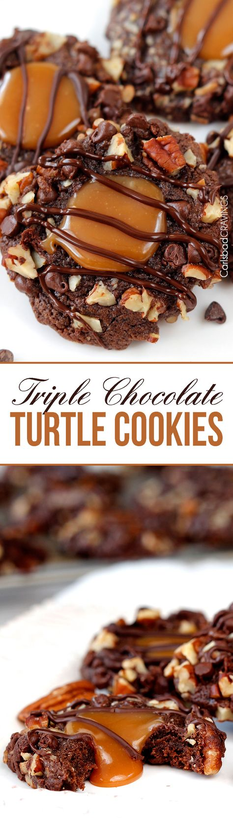 Soft Triple Chocolate Turtle Cookies rolled in mini chocolate chips and pecans then filled with creamy, silky caramel and drizzled with chocolate. AKA heaven. #turtlecookies #pecancookies #chocolatecookies #caramelcookies