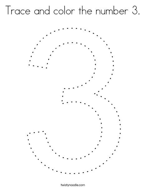 Trace And Color The Number 3 Coloring Page Twisty Noodle Coloring Pages Numbers Preschool Numbers