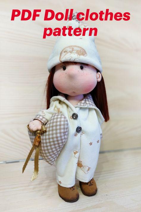PDF Doll clothes pattern, PDF tutorial Creating doll's pajama, doll clothes sewing pattern