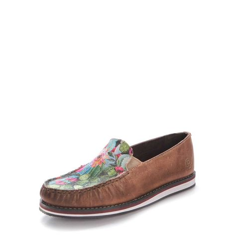 Roper Womens Western Floral Cactus Slip On Shoes